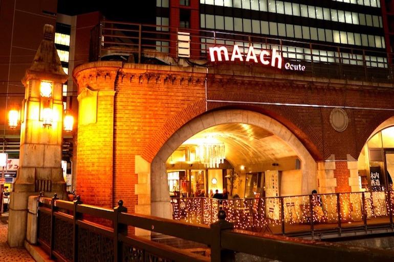 从万世桥一侧看到的夜晚mAAch ecute 神田万世桥