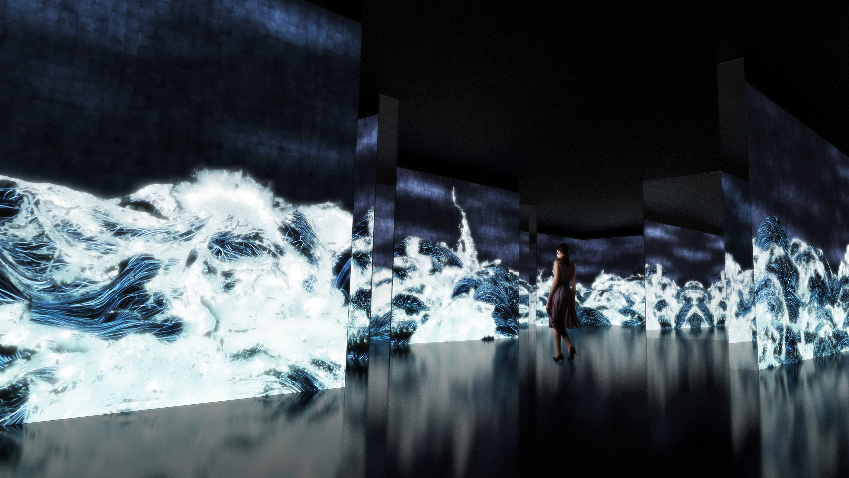 チームラボは、堂島リバーフォーラム(大阪)の開館10周年特別企画として開催される、『千住博 \u0026 チームラボ  コラボレーション展「水」』にて、「Black Waves Wander,