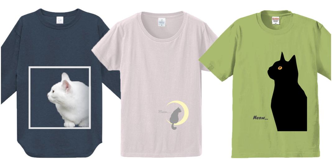 猫の横顔デザインTシャツ