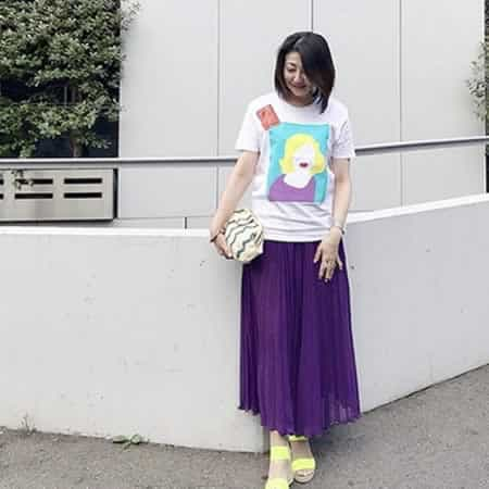 補色色相配色「紫+黄」コーディネート例