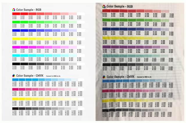 印刷後の色合いは変わる可能性大