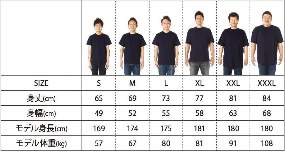 ハイグレードTシャツのサイズ