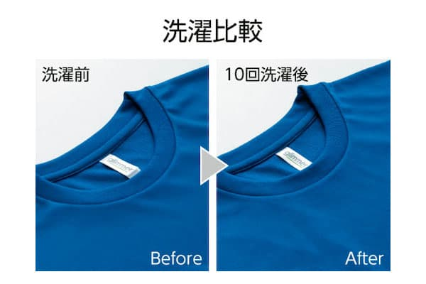 即日スポーツドライTシャツの洗濯前後の比較