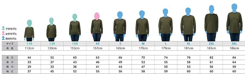 ヘビーウェイト長袖Tシャツのサイズごとの着用感