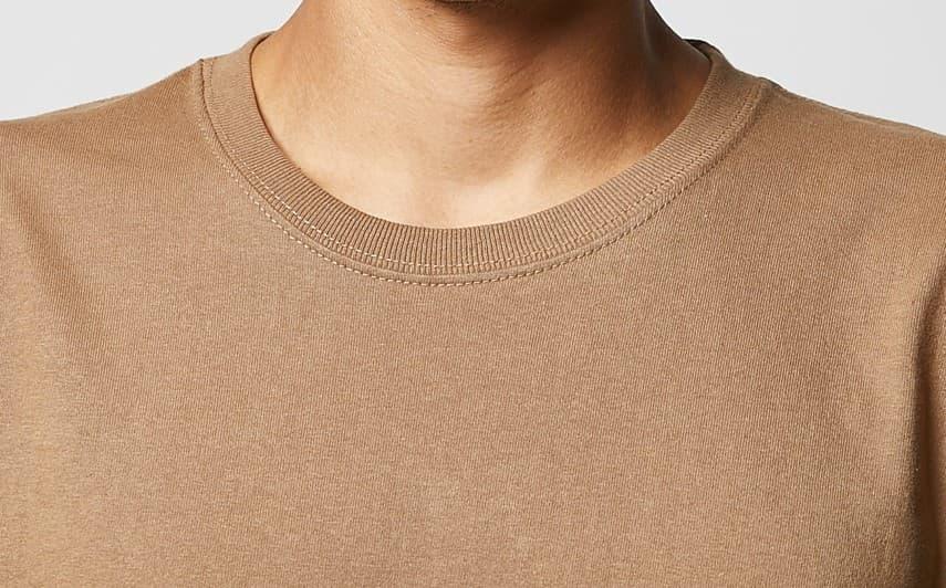 アメリカンTシャツの首リブは丈夫なダブルステッチ仕様
