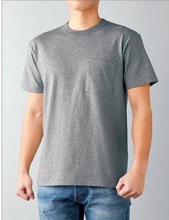 バンダーネックTシャツの着用イメージ:モデル 身長175cm ヘザーグレー Mサイズ着用