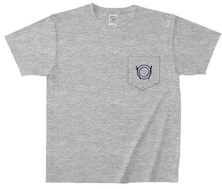オープンエンドマックスウェイトバインダーネックポケットTシャツのプリント例