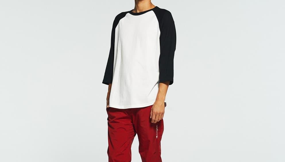 ラグラン七分袖Tシャツの着用イメージ