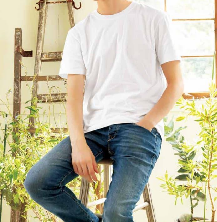 男性モデル:身長186cm ホワイト XLサイズ着用