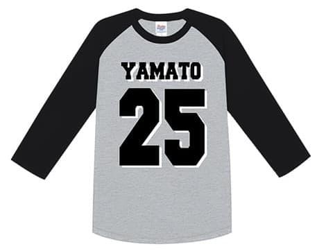 ヘビーウェイトベースボールTシャツのデザインプリント例