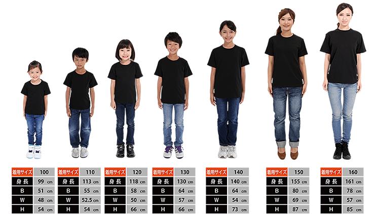 定番Tシャツのサイズ比較画像 子供
