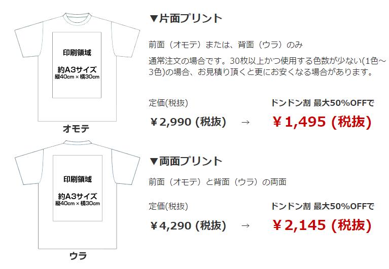 定番Tシャツの場合