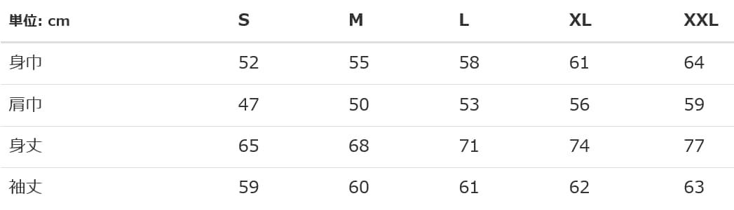 ヘヴィーウェイトスウェットプルオーバーパーカーのサイズ表