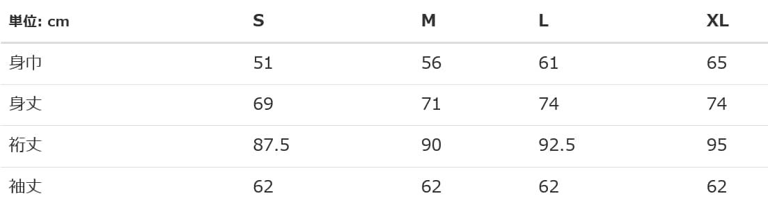 ジャージーズNUBLENDP/Oパーカーのサイズ表