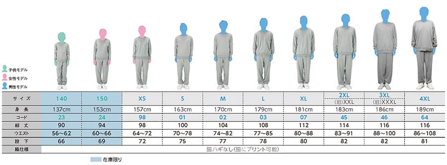 定番スウェットパンツのサイズ表