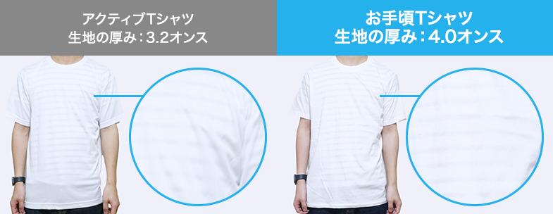 アクティブTシャツ(3.2オンス)とお手頃Tシャツ(4.0オンス)の透け感比較