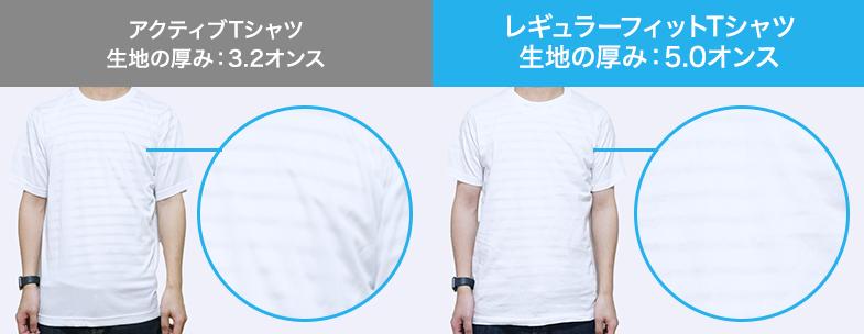 アクティブTシャツ(3.2オンス)とレギュラーフィットTシャツ(5.0オンス)の透け感比較