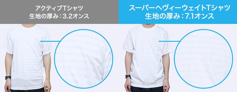 アクティブTシャツ(3.2オンス)とスーパーヘヴィーウェイトTシャツ(7.1オンス)の透け感比較