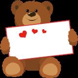 ハート入の紙を持ったクマ