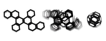 4Dプリントで製作された平面から自動で組み立てられる八面体