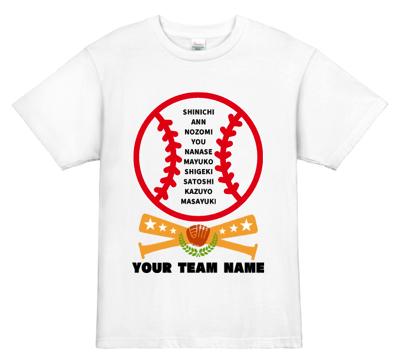 チームメンバー名入りの野球チームのユニフォームデザイン