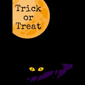 ハロウィン黒猫と満月Tシャツデザイン