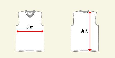 ウィメンズランニングシャツの測り方画像