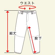 ベーシックベースボールパンツの測り方画像