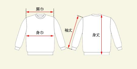 スタンダードスウェットシャツの測り方画像