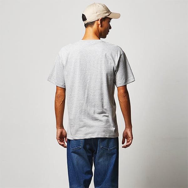 モデル身長182㎝/Lサイズ/ミックスグレー着用/背面シルエット