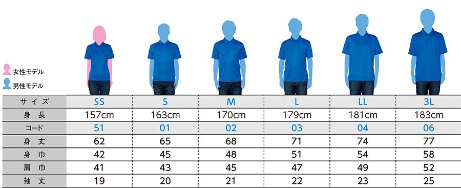 インターロックドライポロシャツのサイズ表