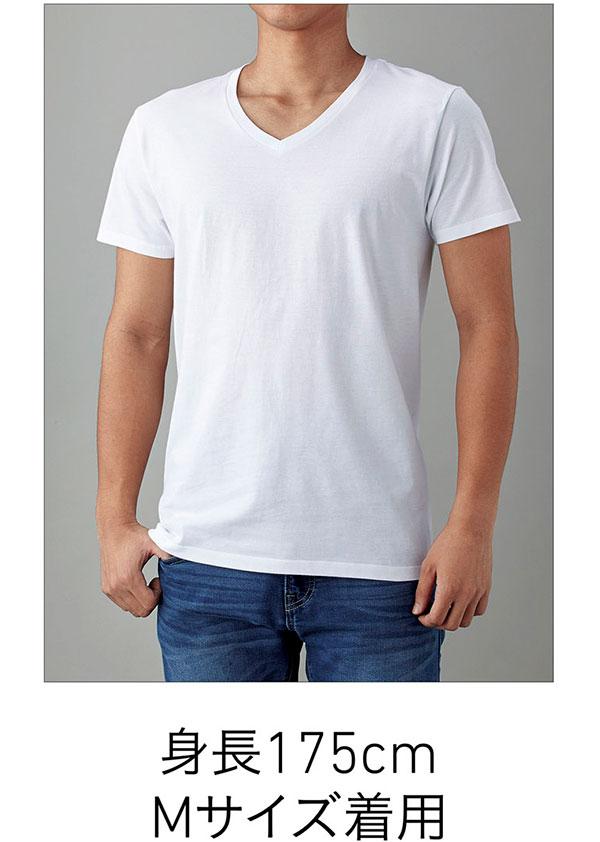 スリムフィットVネックTシャツの着用写真 Mサイズ