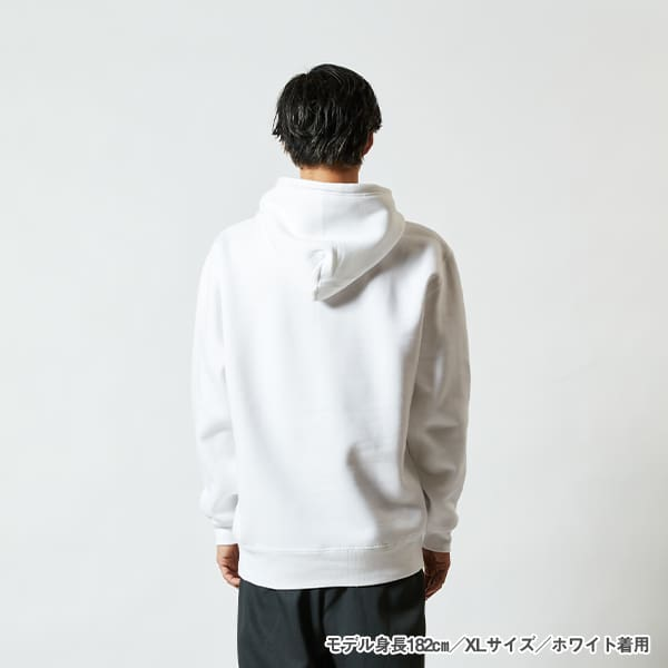 モデル身長182㎝/XLサイズ/ホワイト 着用/背面シルエット
