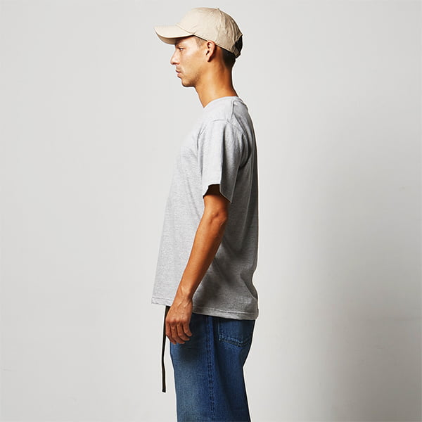 モデル身長182㎝/Lサイズ/ミックスグレー着用/サイドシルエット