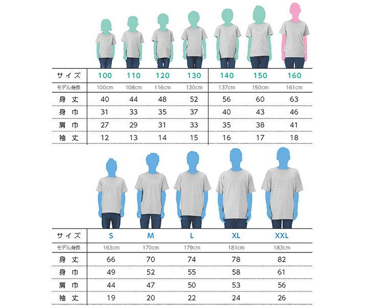 定番Tシャツのサイズ別着用写真