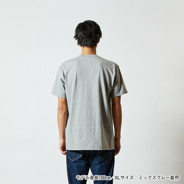 モデル身長182㎝/XLサイズ/ミックスグレー 着用/背面シルエット