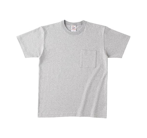 オープンエンドマックスウェイトバインダーネックポケットTシャツ ヘザーグレー