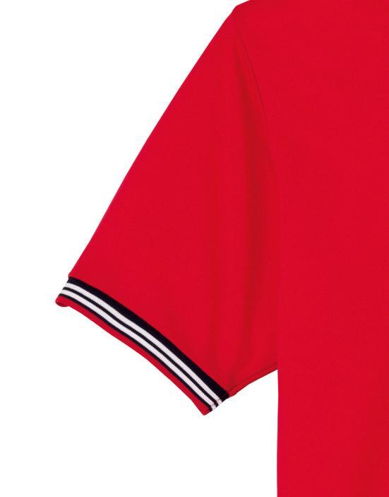 裾ラインリブポロシャツの袖