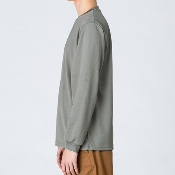 モデル身長178㎝/Lサイズ/グレー着用/サイドシルエット