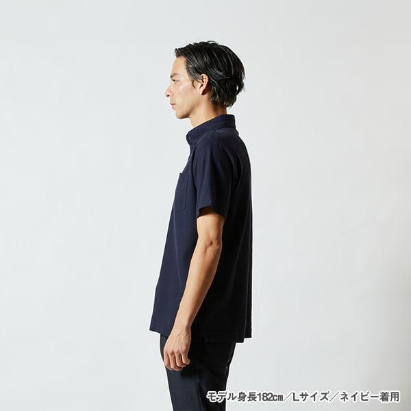 モデル身長182㎝/Lサイズ/ネイビー 着用/サイドシルエット