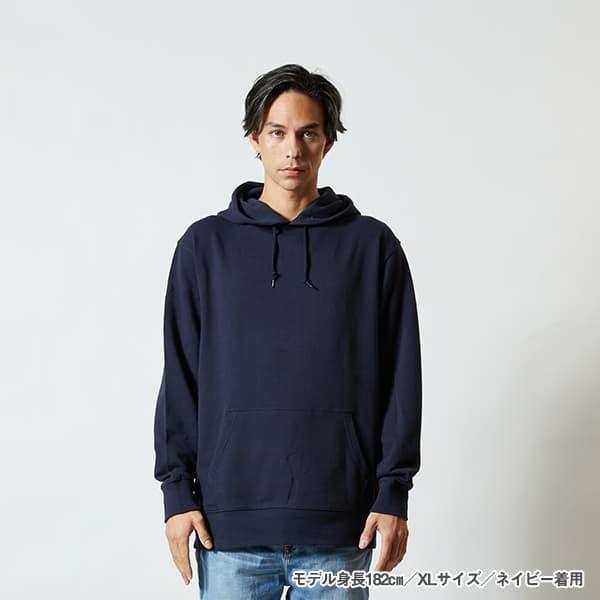 モデル身長182㎝/XLサイズ/ネイビー 着用/正面シルエット