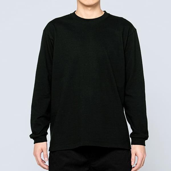 男性モデル身長180㎝/Lサイズ/ブラック着用/正面シルエット