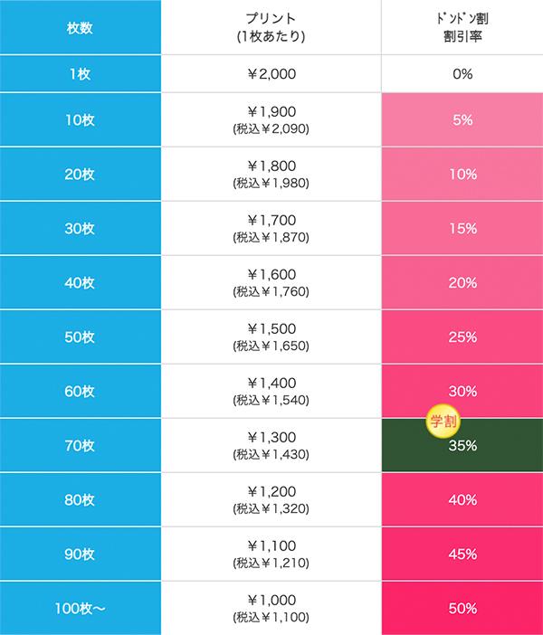 A4フルグラフィッククリアファイルの価格表