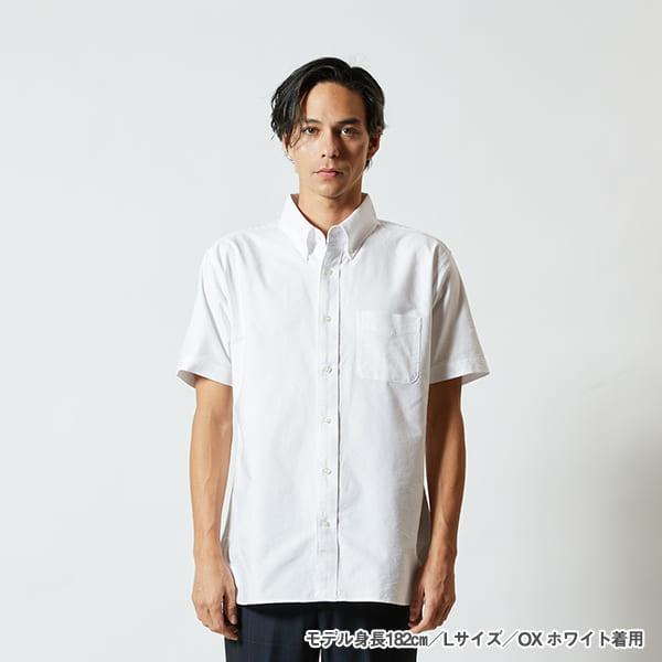 モデル身長182㎝/Lサイズ/OXホワイト 着用/正面シルエット