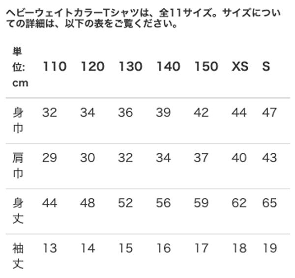 ヘビーウェイトカラーTシャツのサイズ表