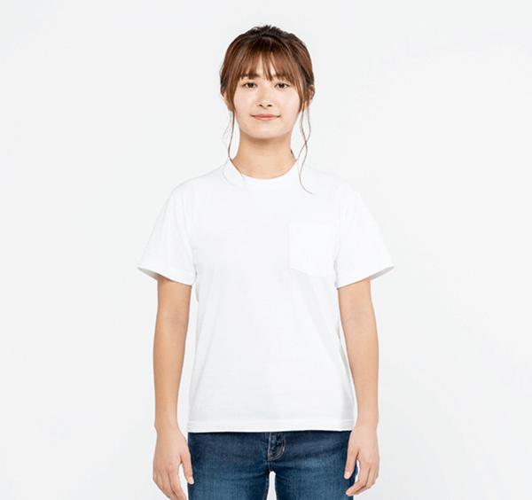 ヘビーウェイトポケットTシャツの正面着用_女性