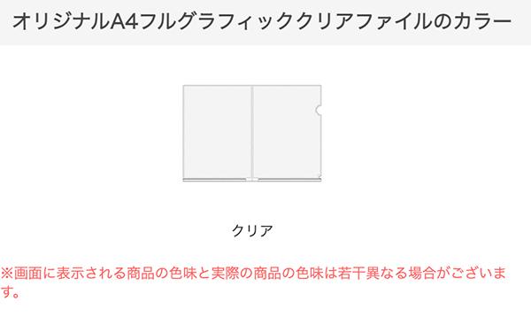 A4フルグラフィッククリアファイルのカラー