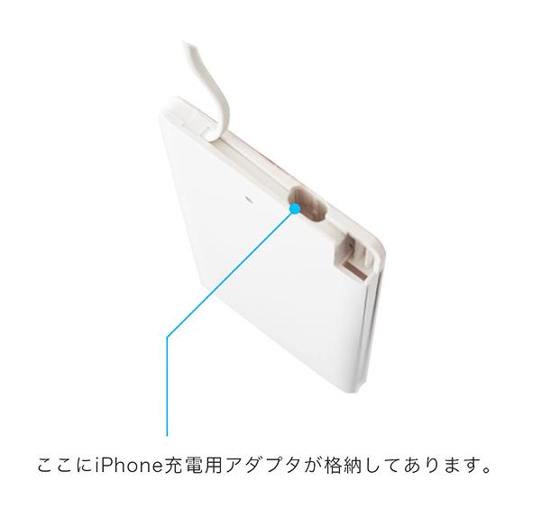 iPhone用変換アダプタ格納箇所