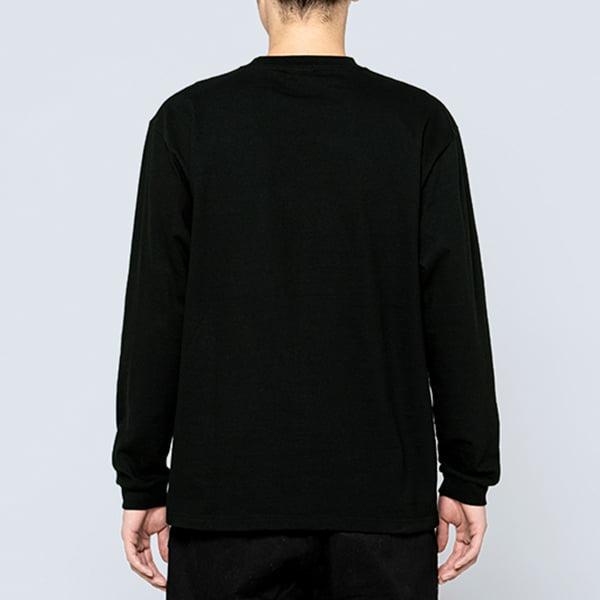 男性モデル身長180㎝/Lサイズ/ブラック着用/背面シルエット