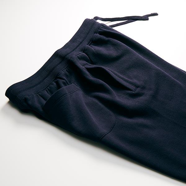 レギュラーパイルスウェットパンツの脇ポケット/ネイビー